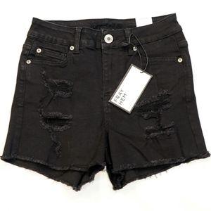 Rue 21 High-Rise Shortie Black Jean Shorts